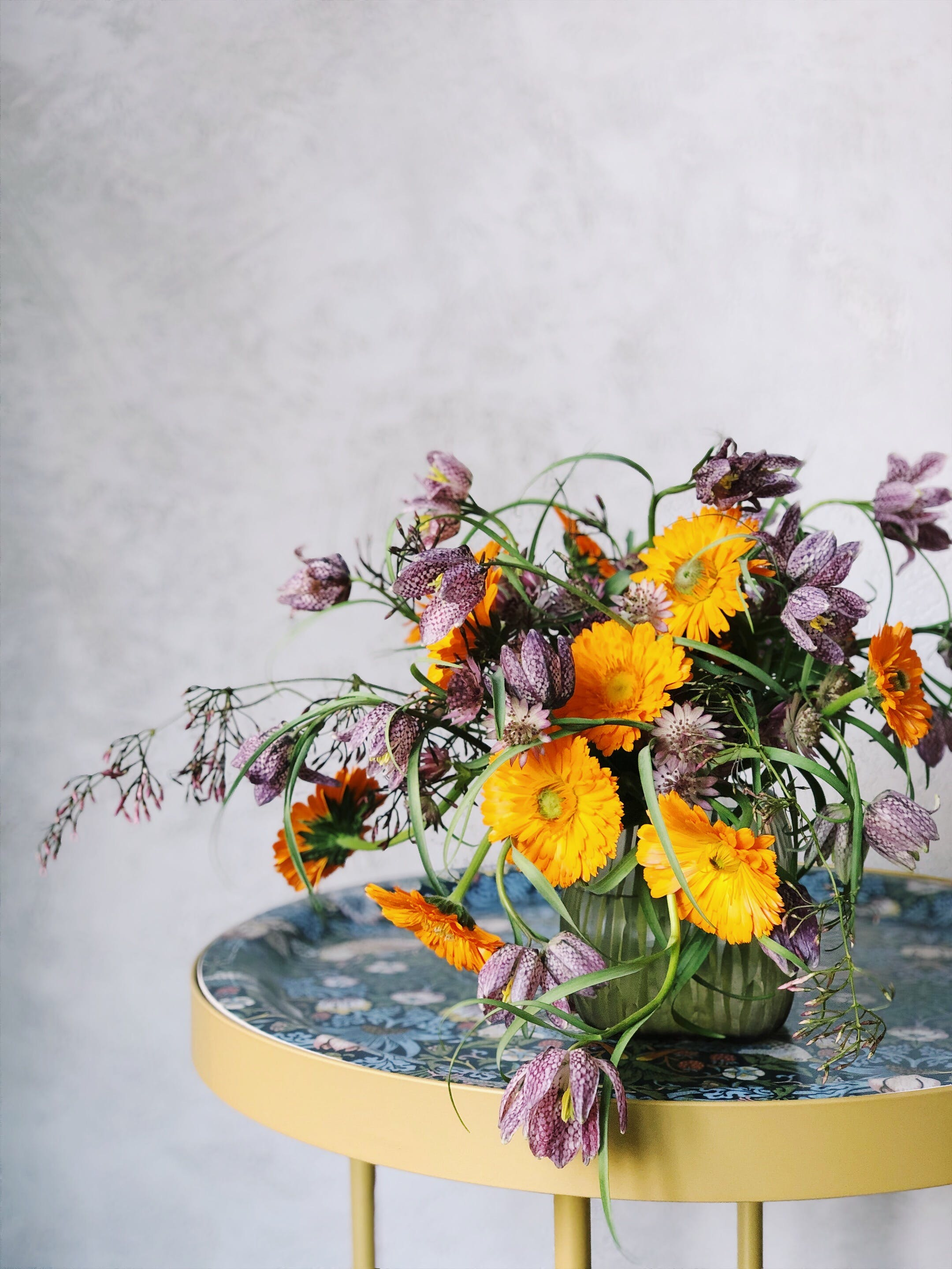 Potted Yellow and Purple Cluster Flowers