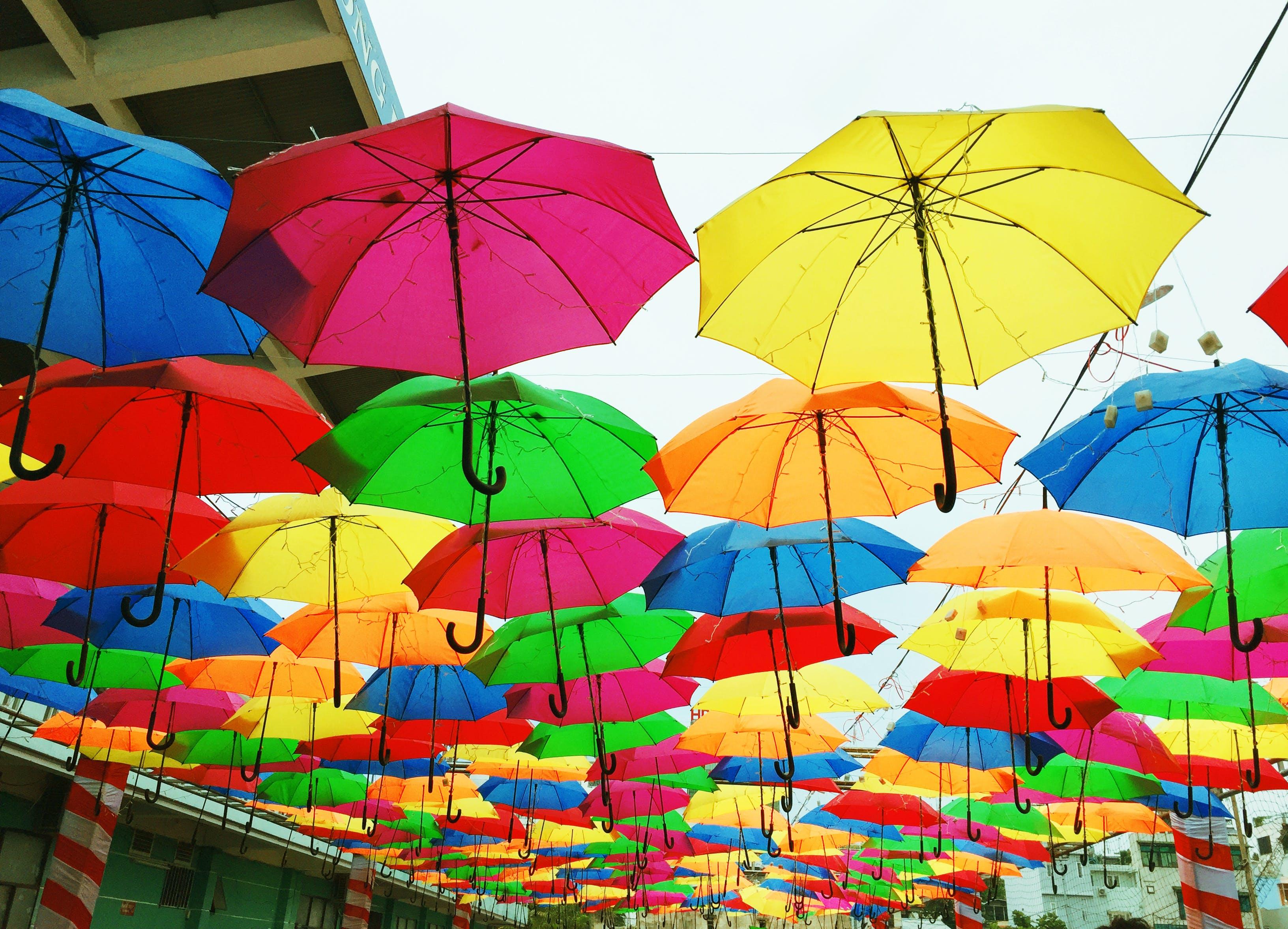 Δωρεάν στοκ φωτογραφιών με ομπρέλες, παλέτα χρωμάτων, πολύχρωμος