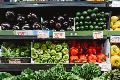 Vegetable stall at supermarket