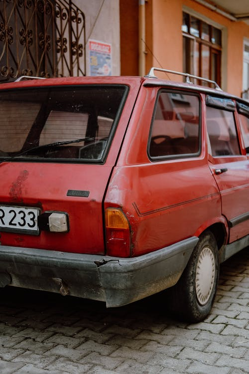 Red and Black Station Wagon
