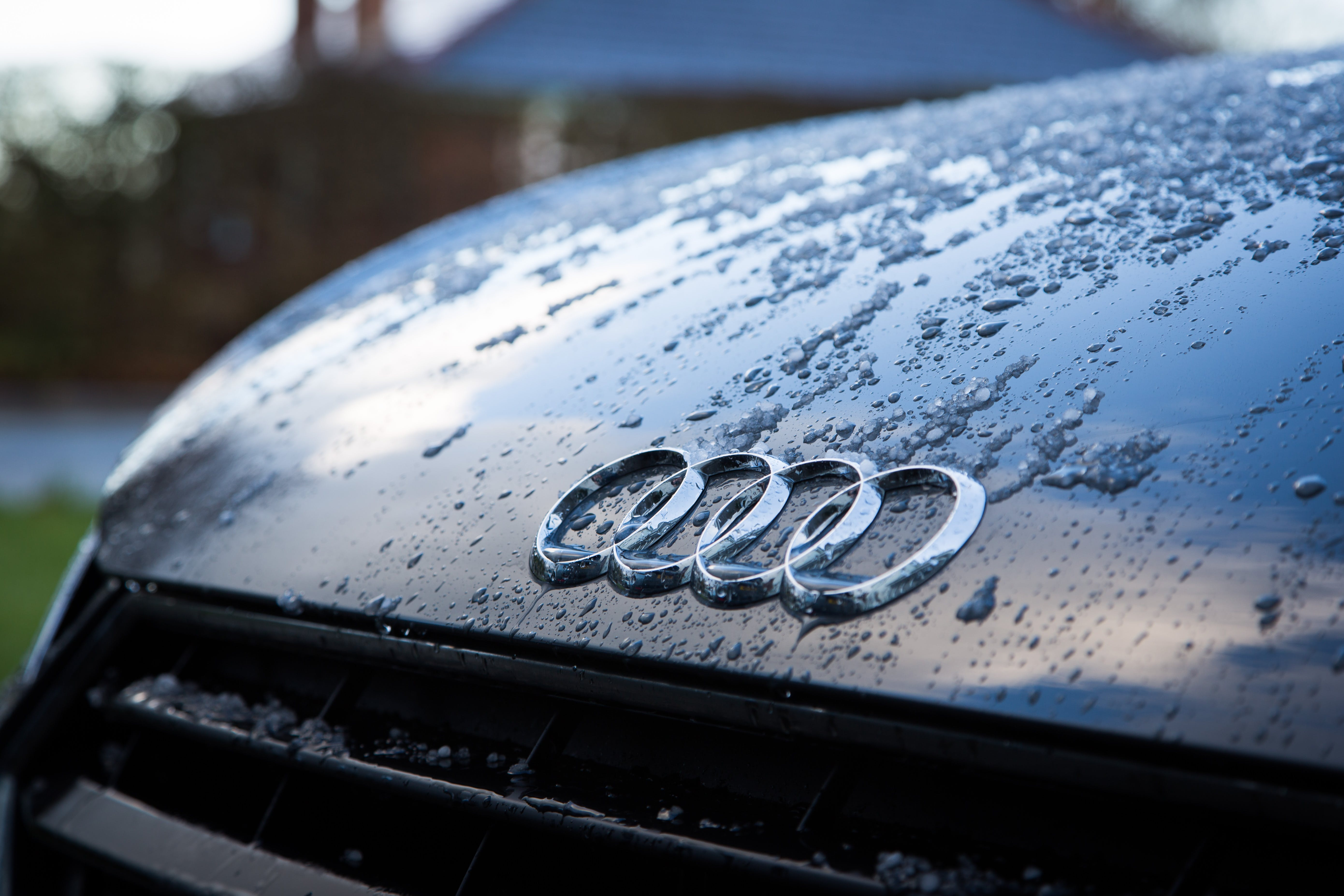 Water Droplets On Black Audi Vehicle Hood