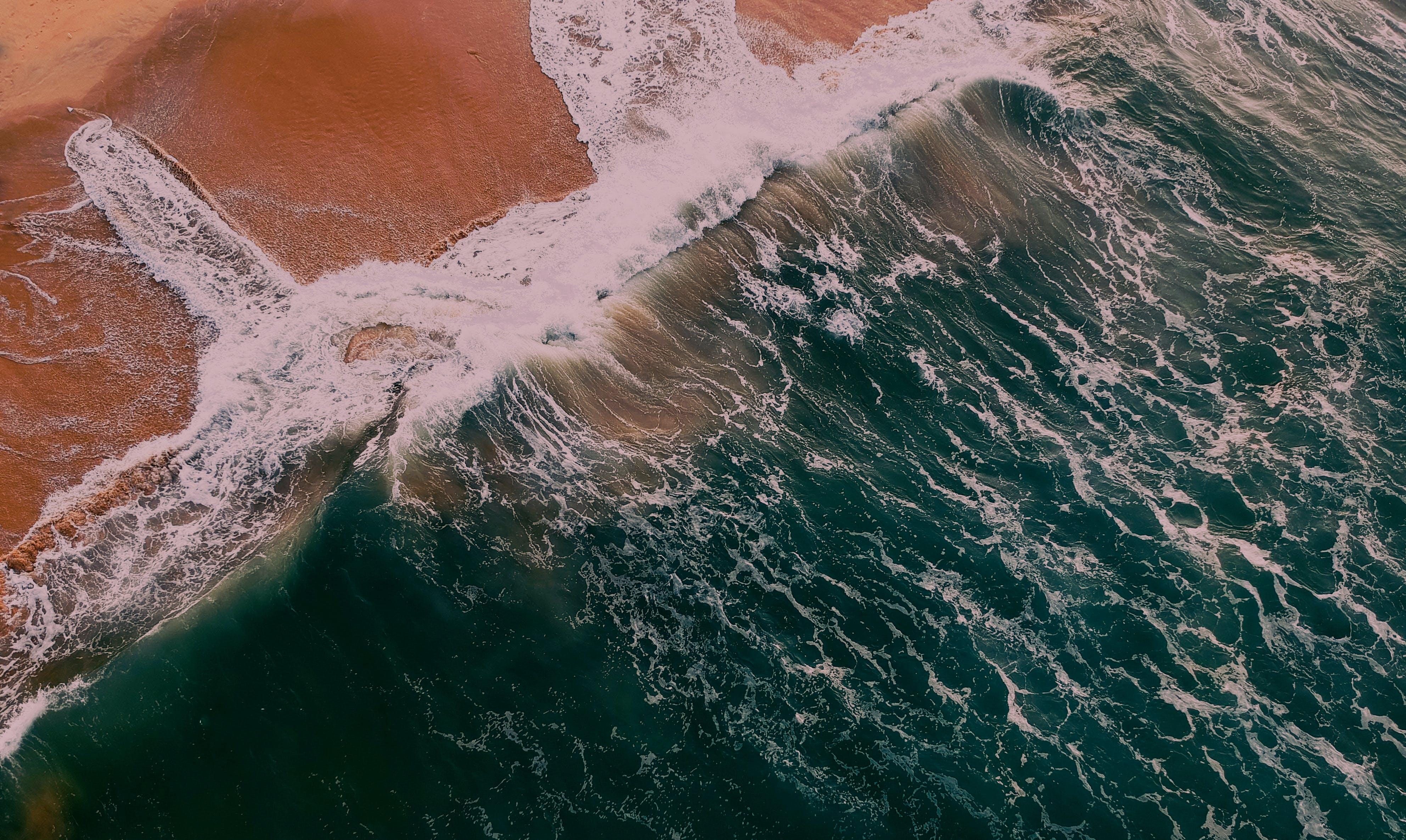 Gratis lagerfoto af bølger, dagslys, fugleperspektiv, hav