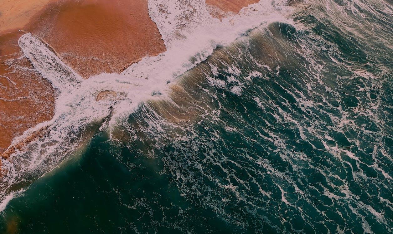 bølger, dagslys, flyfoto