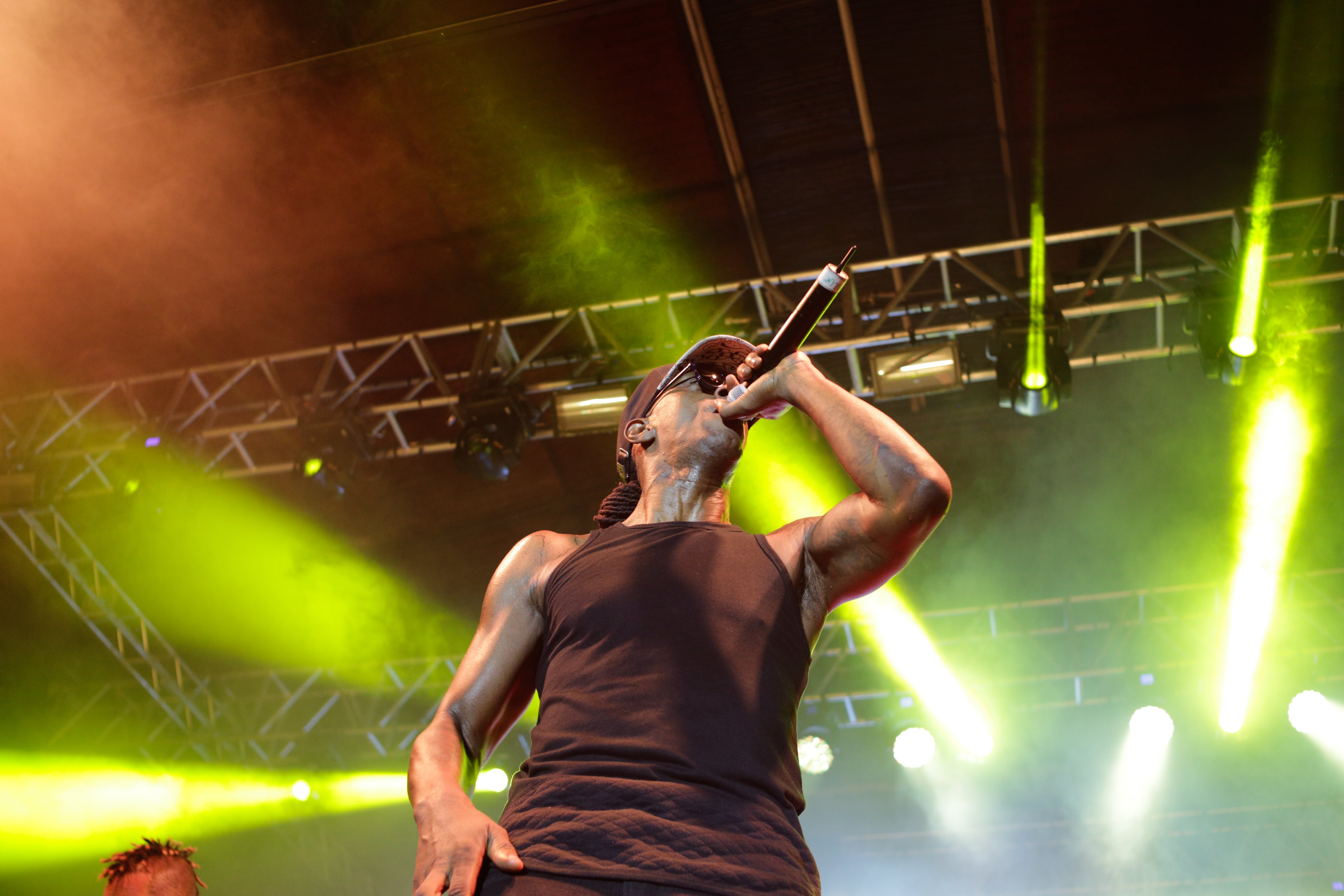 Man Wearing Black Tank Top Using Microphone on a Concert