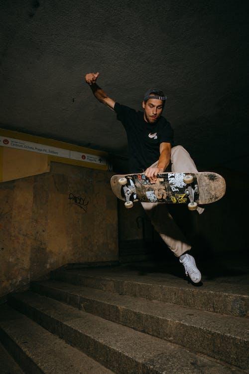 Man doing skateboarding trick