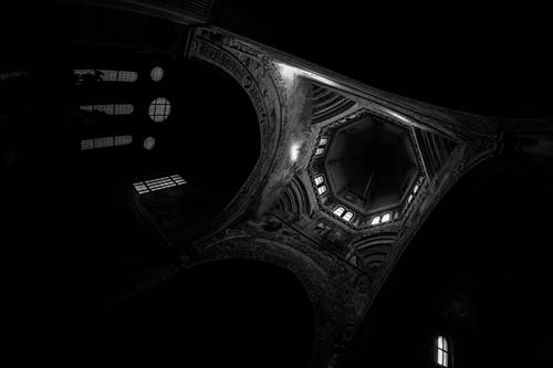 Grayscale Photography of House Ceiling