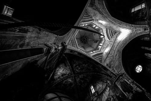 Grayscale Photography of Buildings Ceiling