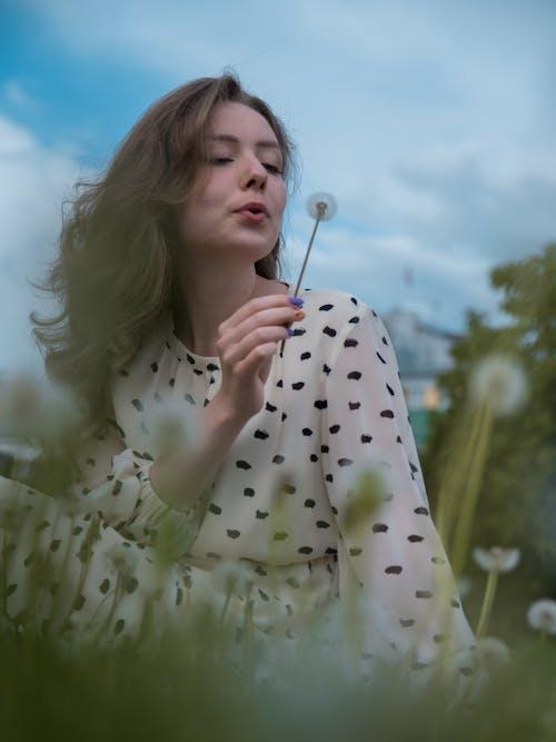 Woman in White and Black Polka Dot Shirt Holding White Dandelion Flower