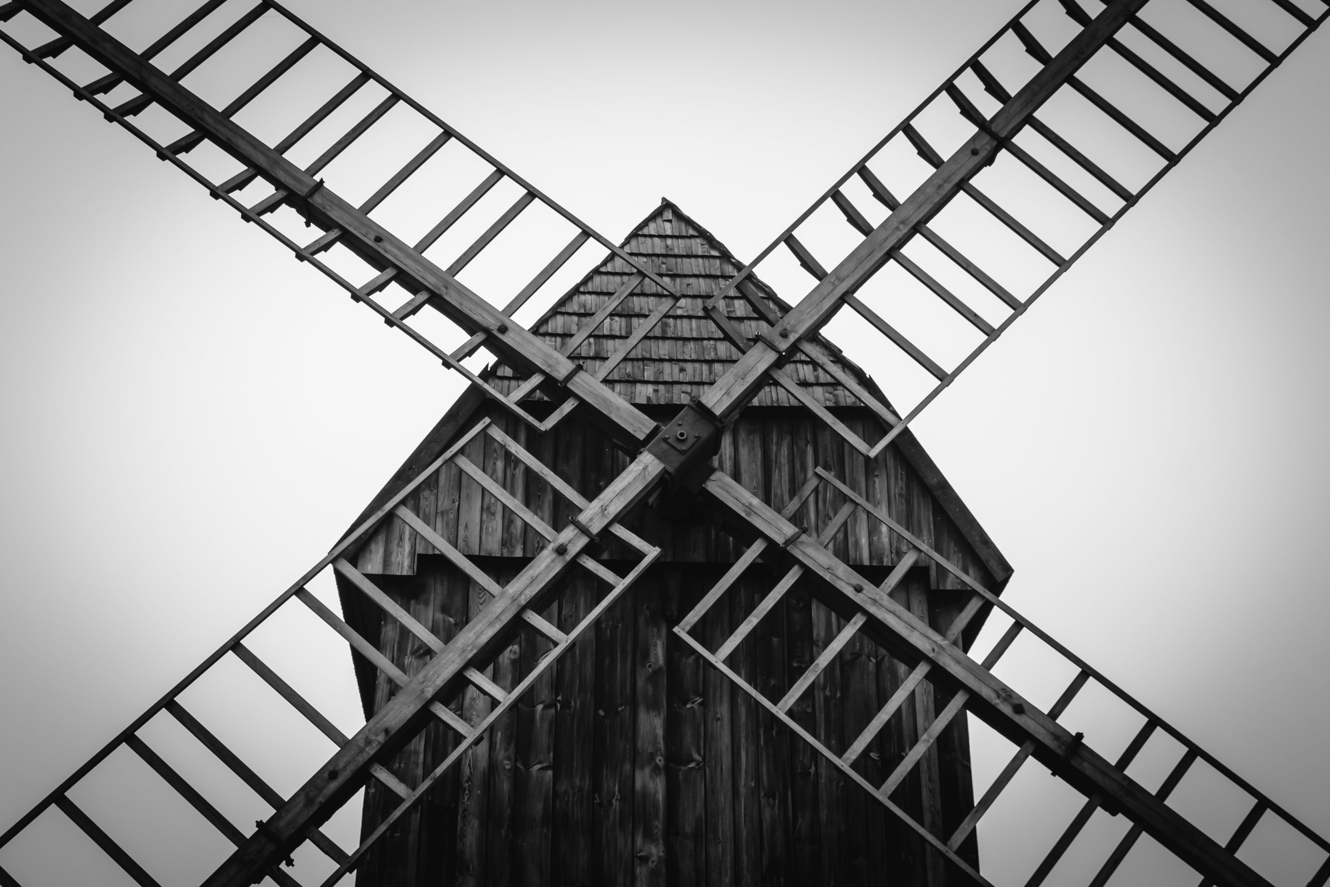Grayscale Photo of Windmill