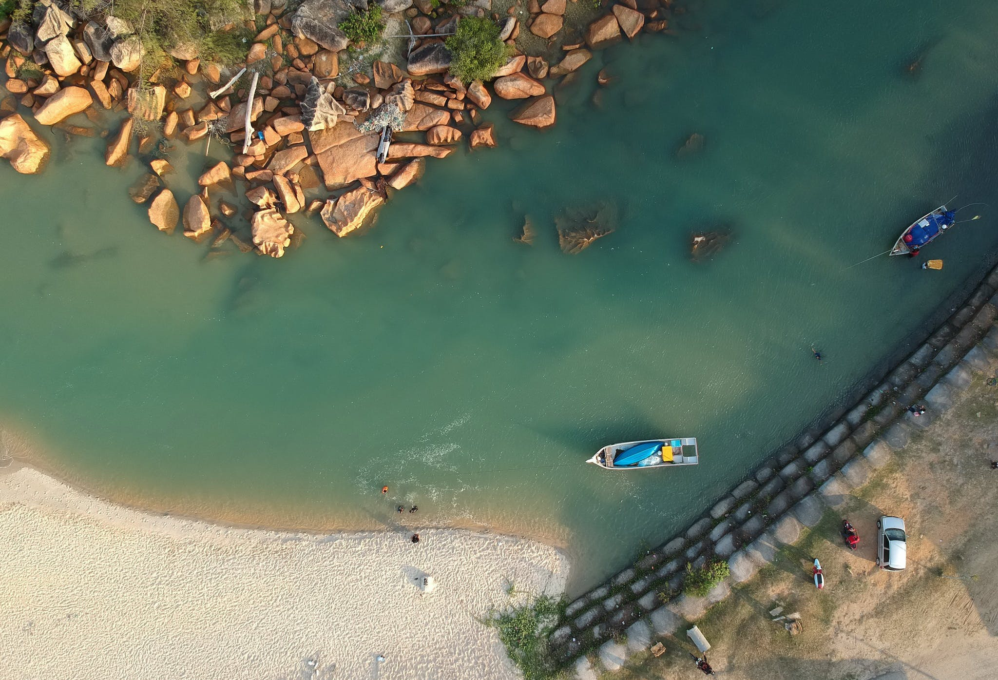 Aerial Photography of Boat Sailing
