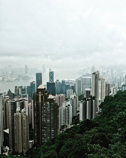 Aerial photography of city escape during cloudy day view