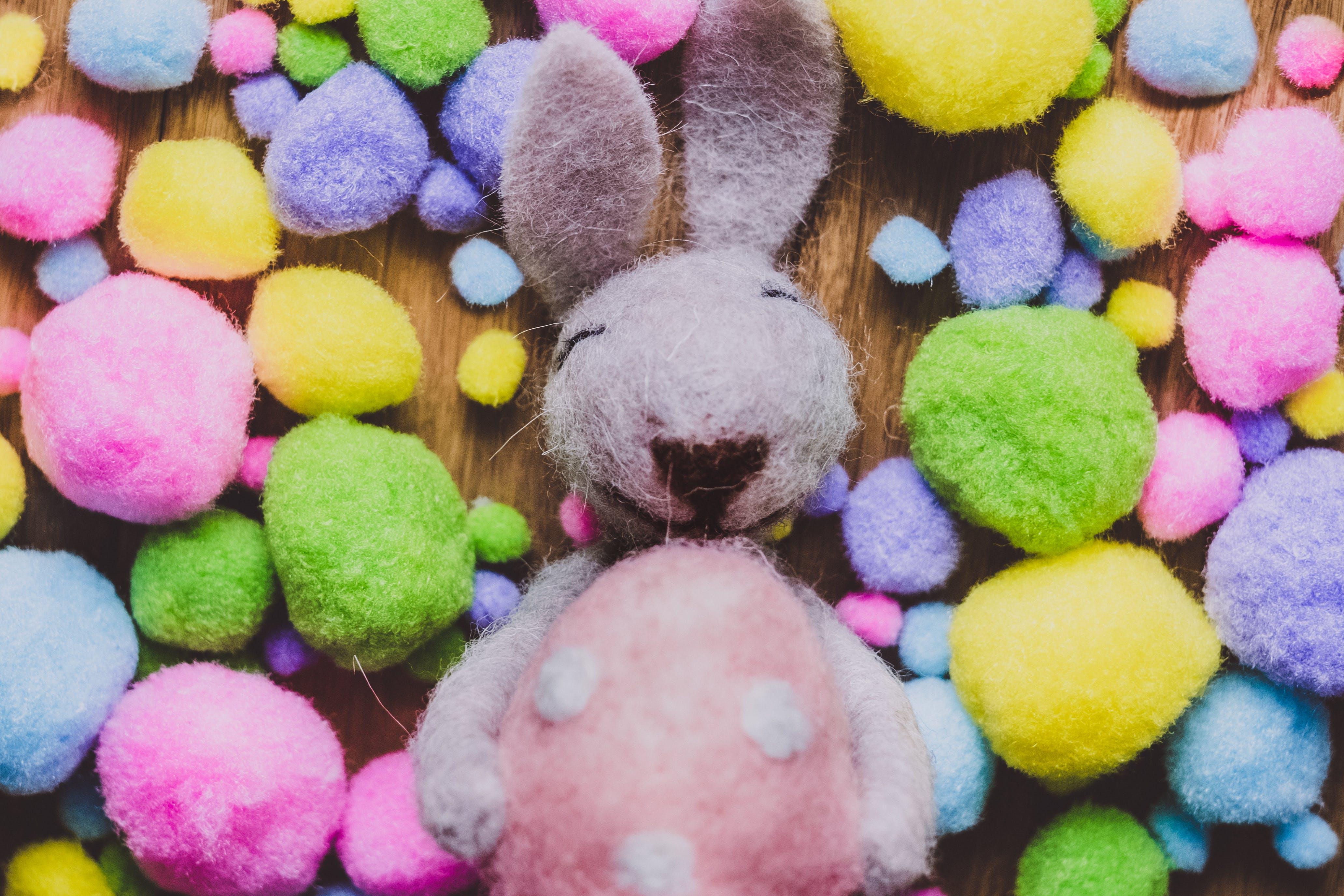 Top View of White Rabbit Plush Toy