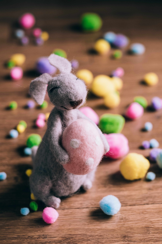 Gray Rabbit Plush Toy Holding an Egg