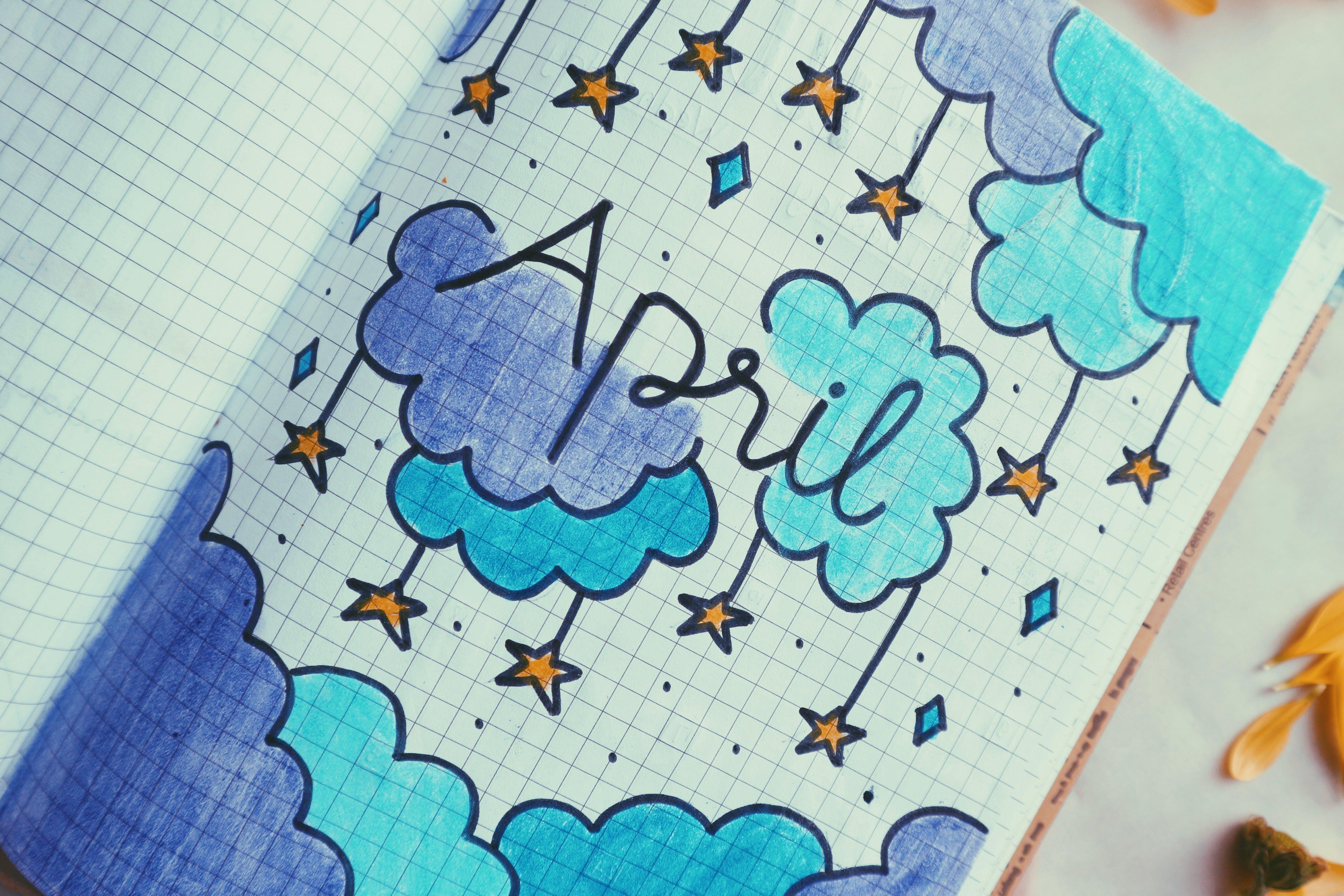 White, Blue, and Purple Stars Illustration
