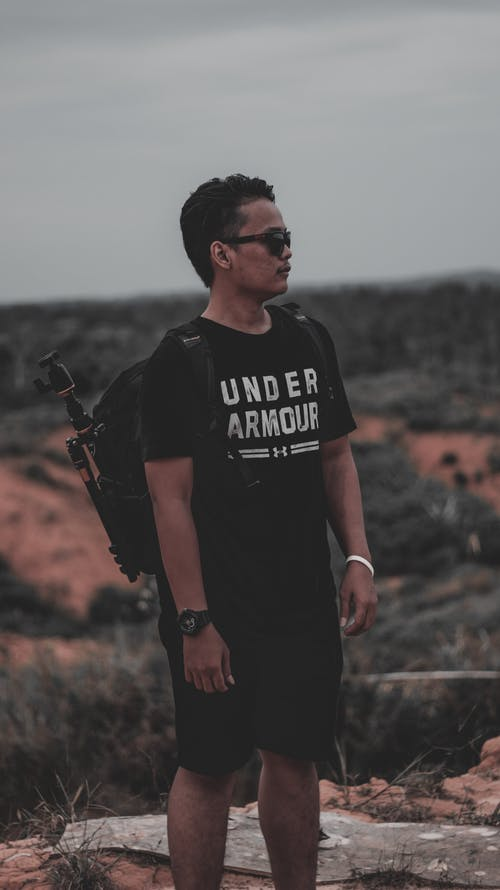Photo of Man Wearing Black Backpack