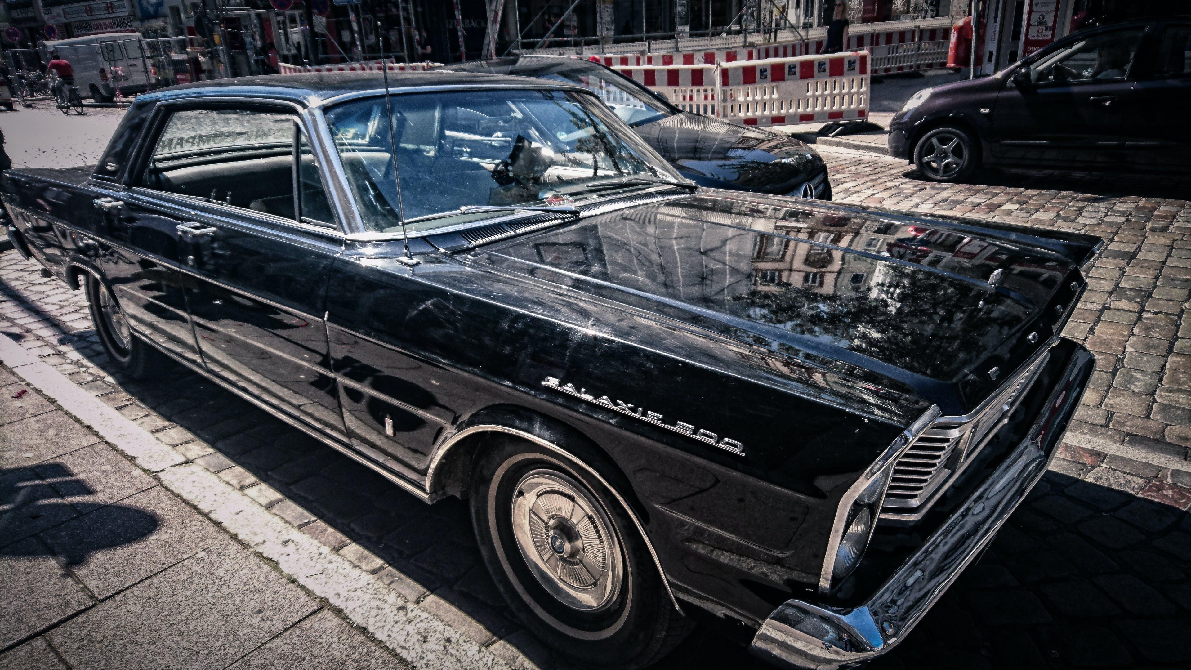 Black Sedan on Road Photography