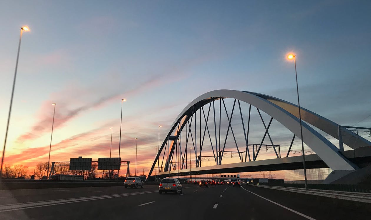 autók, forgalom, híd