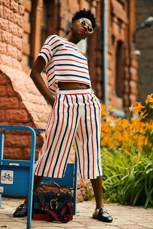Woman Wearing White-red-and-blue Striped Shirt and Palazzo Pants