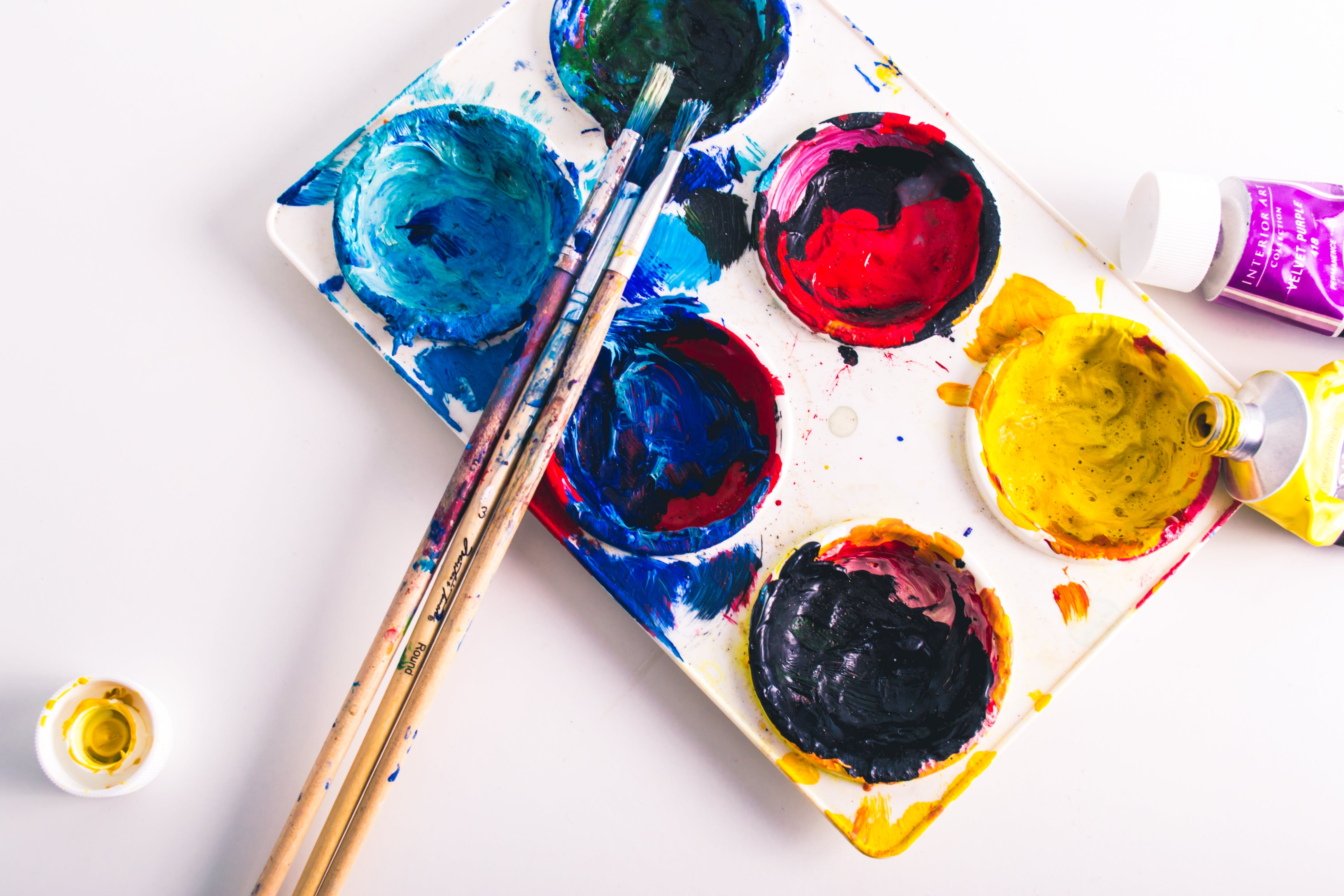 Free stock photo of art, colors, brushes, palette