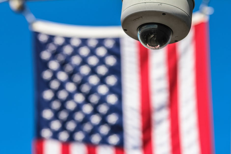 American flag, CCTV, closed-circuit television