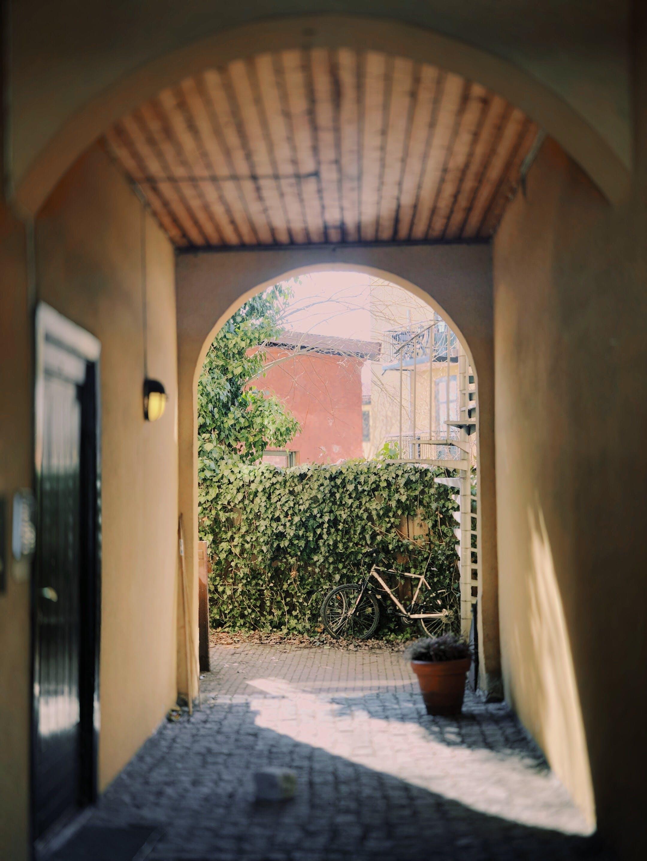 Black Door in Front of Hallway