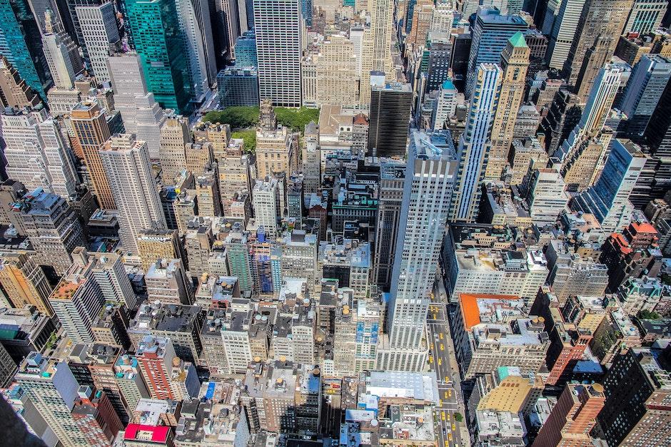 bird's eye view, buildings, city