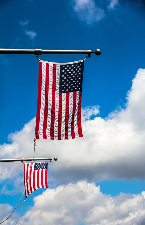 Usa Flag on Gray Metal Pole