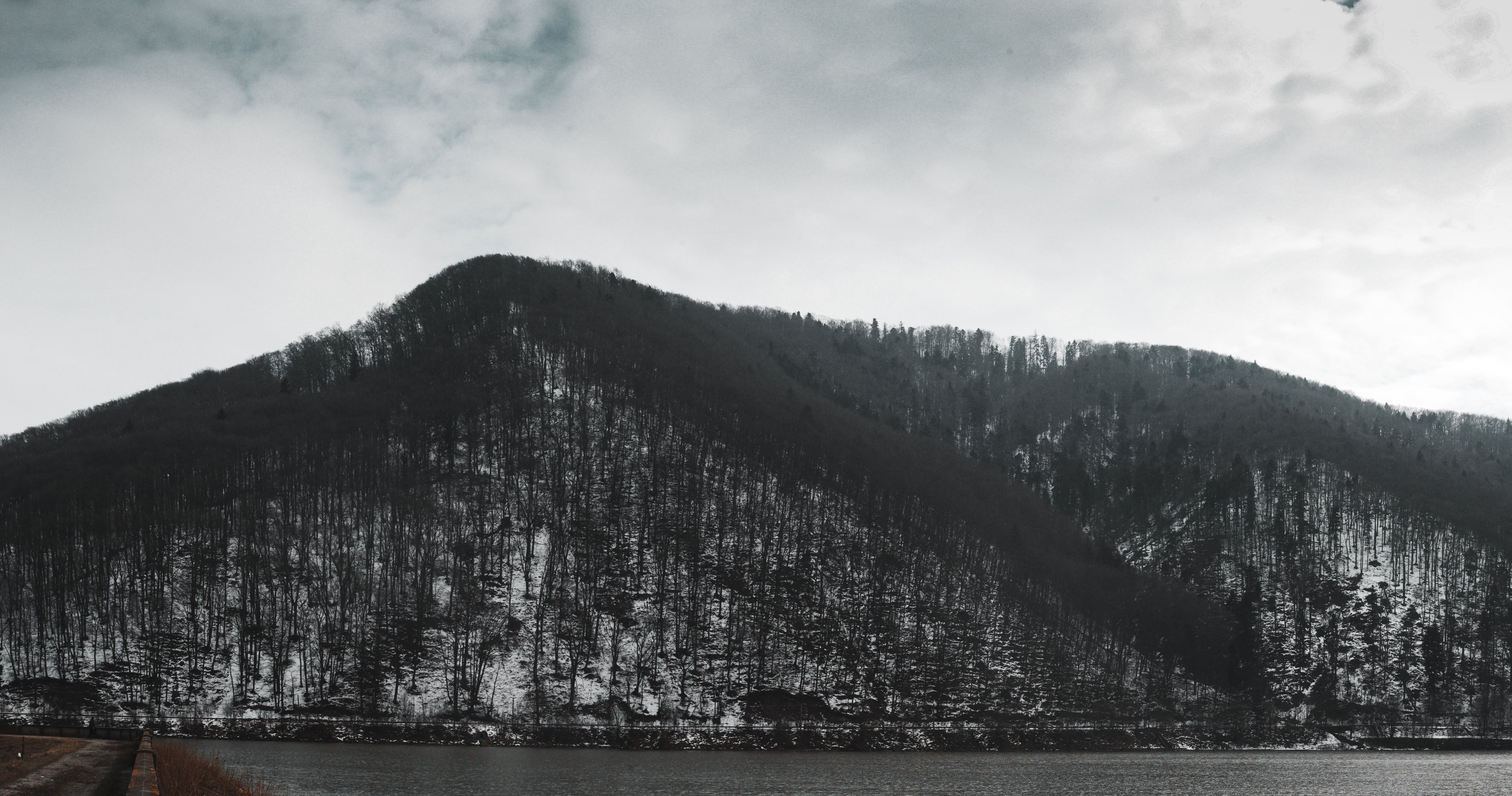 Grayscale Photo of Mountain and Lake