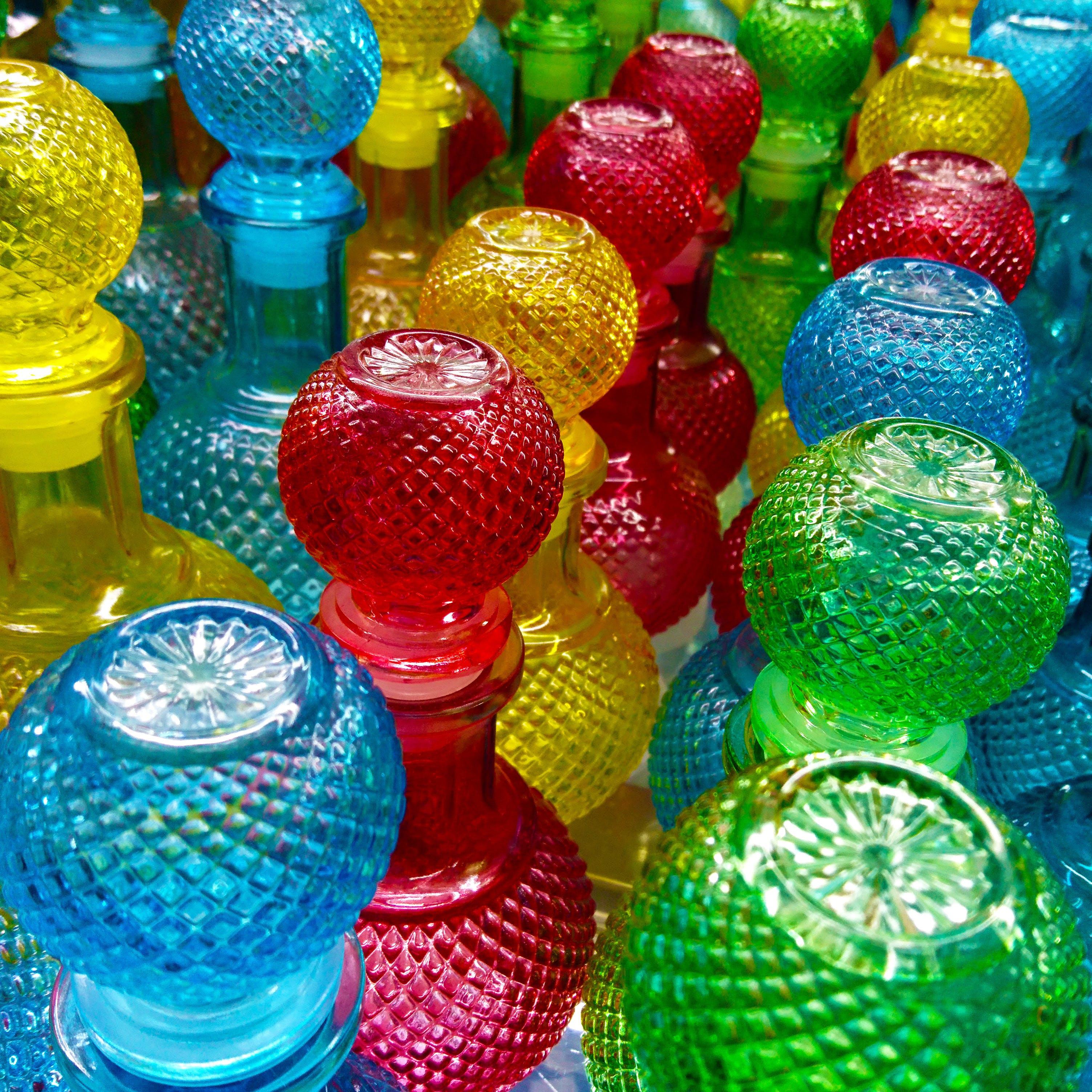 Assorted-color Cut Glass Decanter Lot