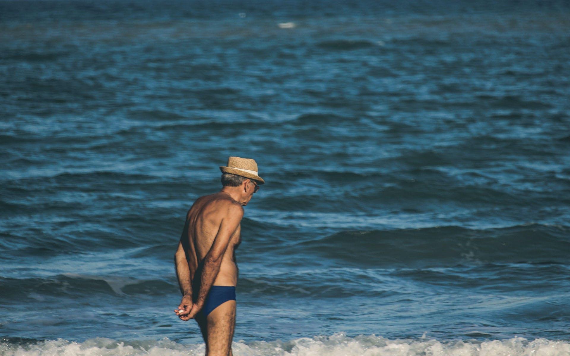 beach, elderly, man