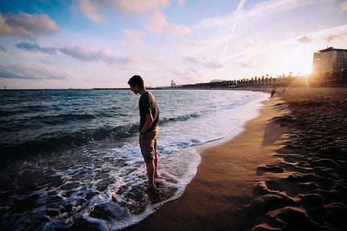 남자, 모래, 물, 바다의 무료 스톡 사진