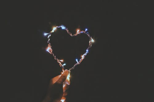 Person Holding Multicolored Heart-shaped String Lights