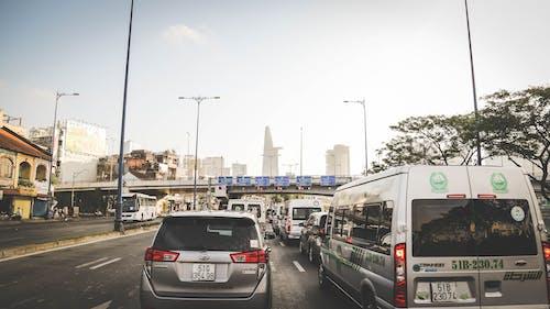 シティ, 交通渋滞, 赤い光, 車の無料の写真素材