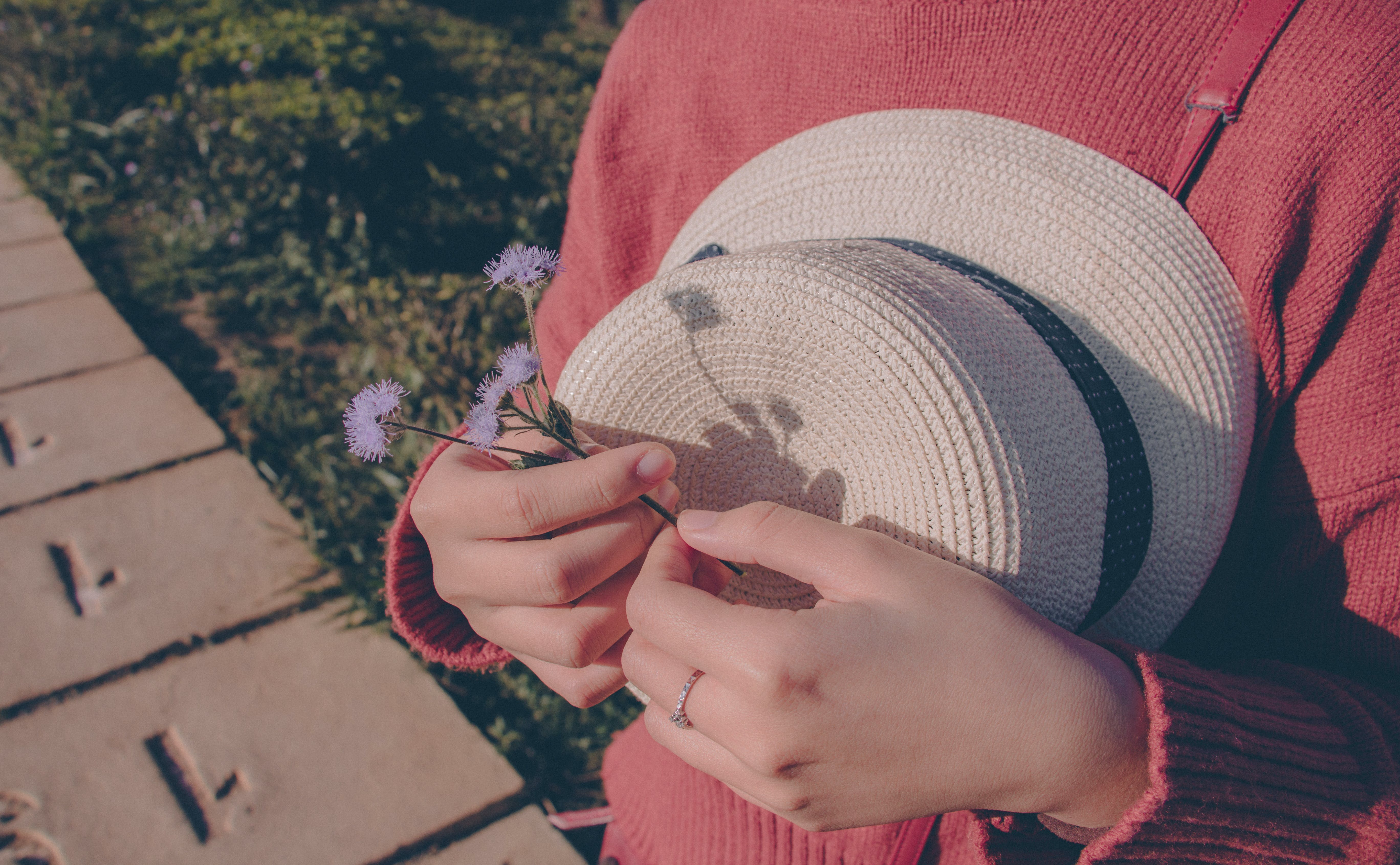 Person Wearing Sweater Holding Flower and Hat