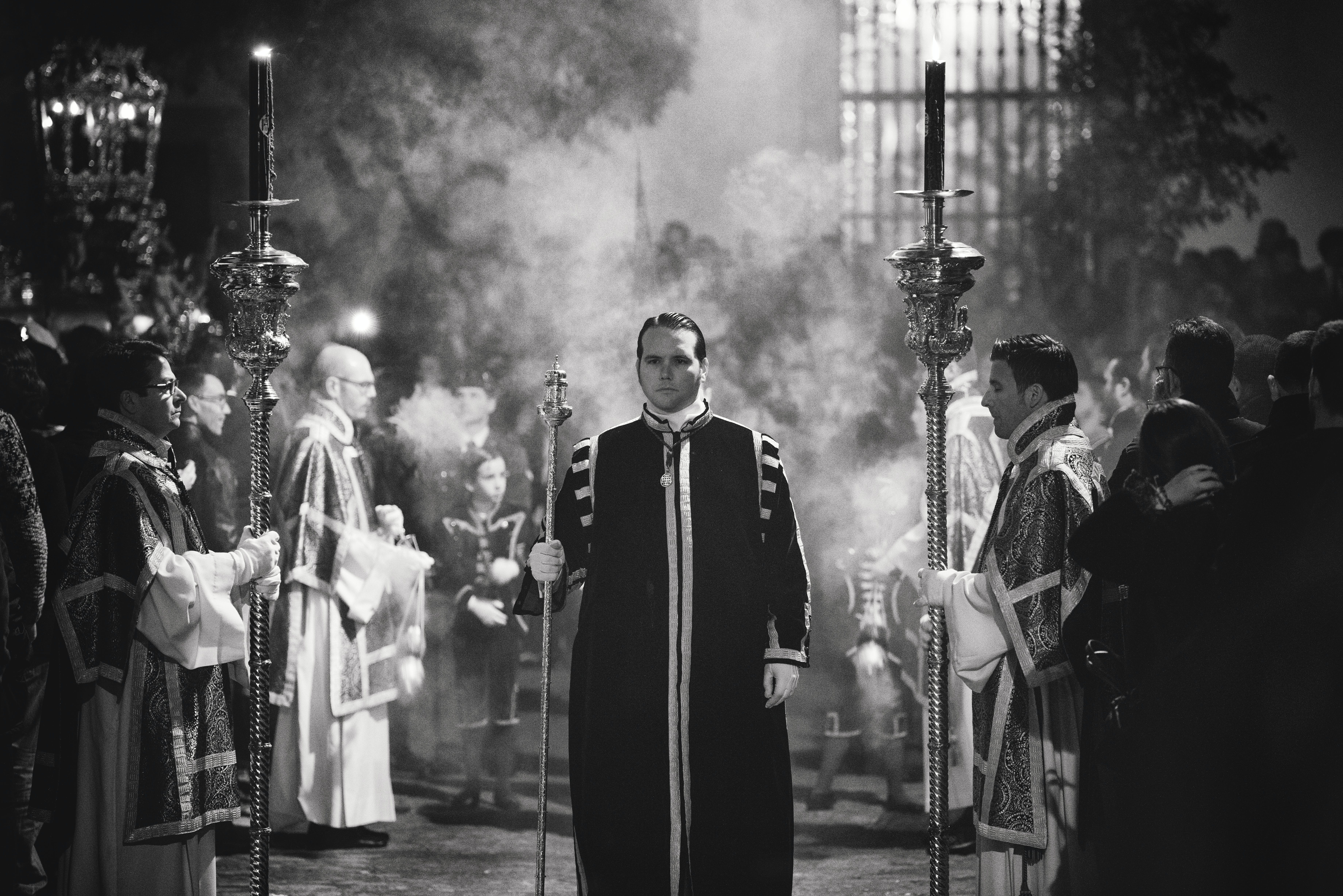 Grayscale Photography Of Priests