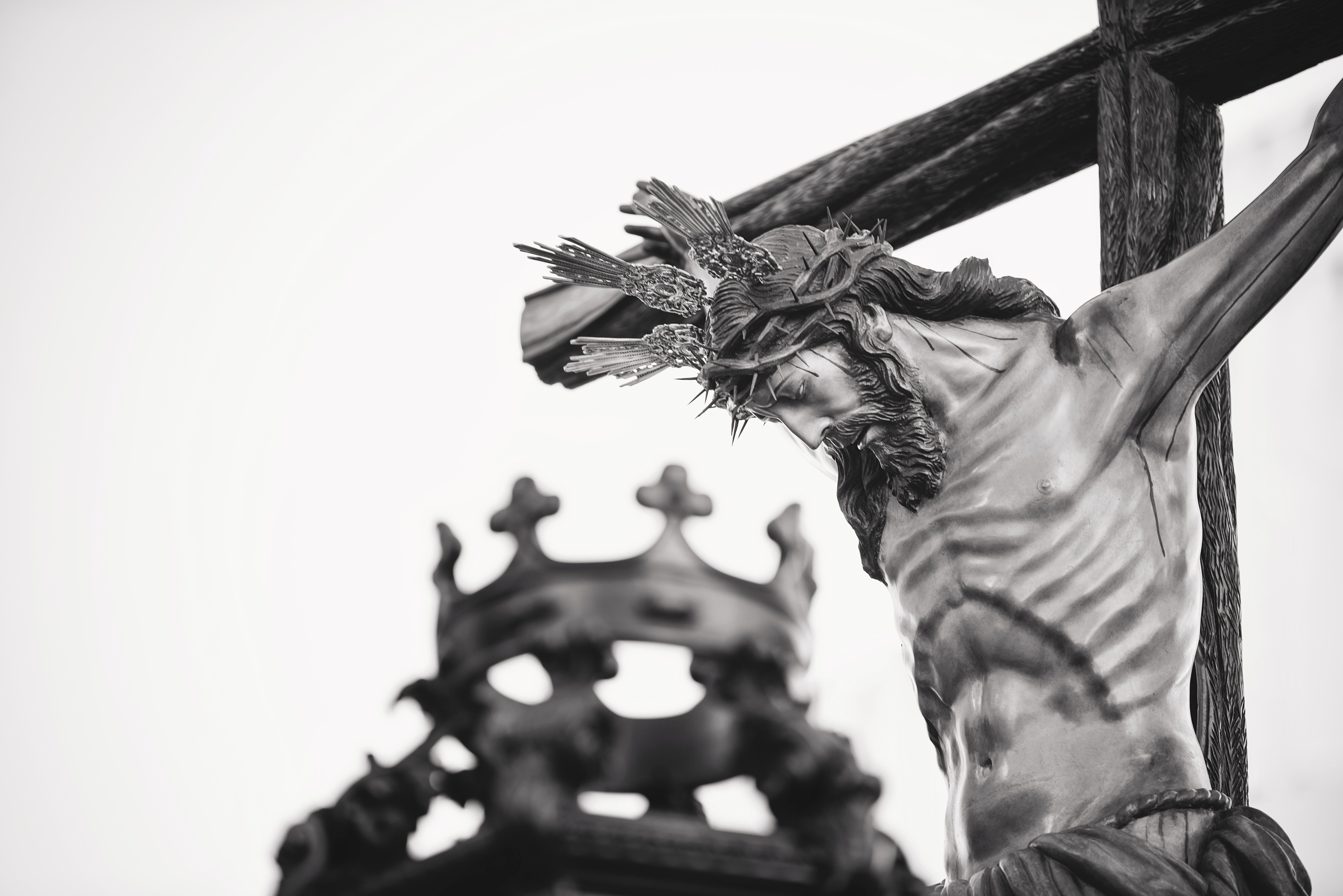 Grayscale Photo Of Crucifix