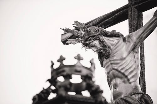 Grayscale Photo Of Crucifix