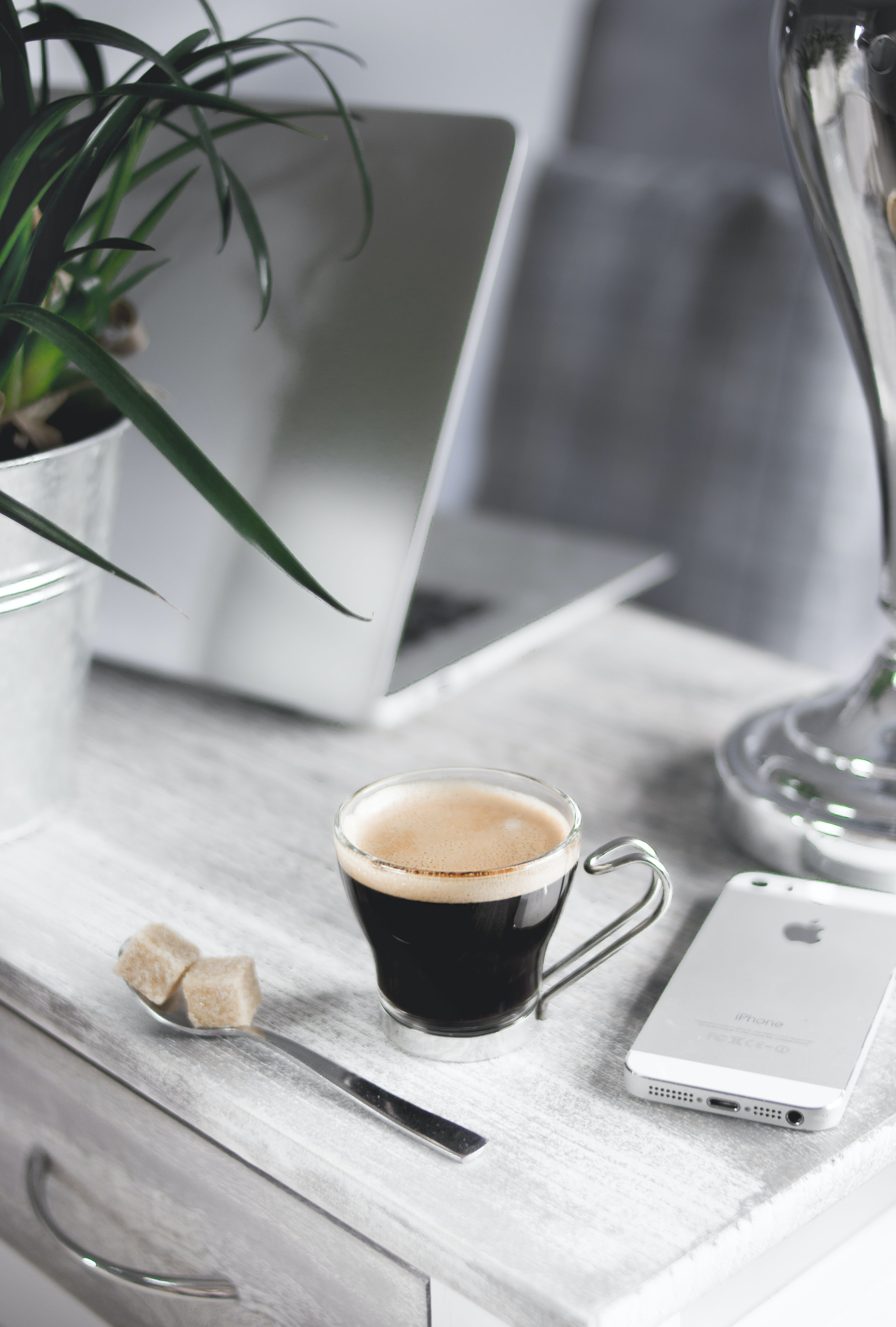 Free stock photo of coffee, cup, spoon, desk