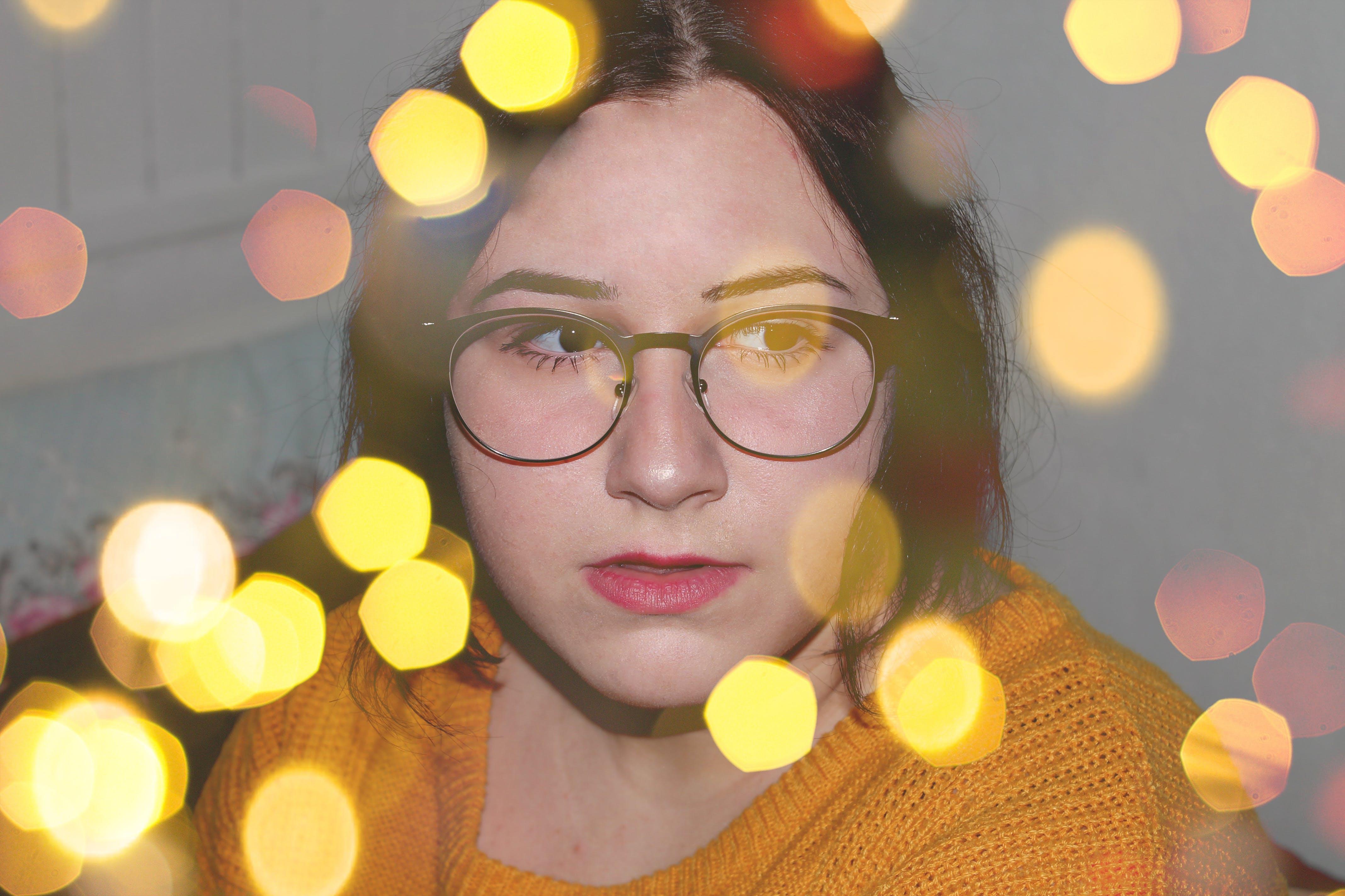 Free stock photo of bokeh, girl, glasses