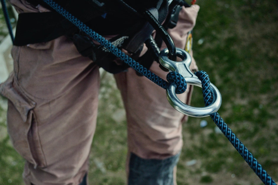 abseiling, adventure, carabiner