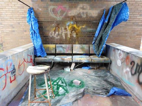 Free stock photo of art, bench, graffiti, spray paint