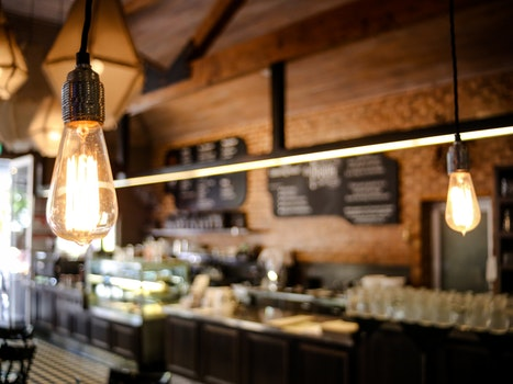 Free stock photo of café, macro, light bulbs