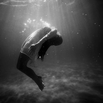 Free stock photo of black-and-white, person, woman, underwater