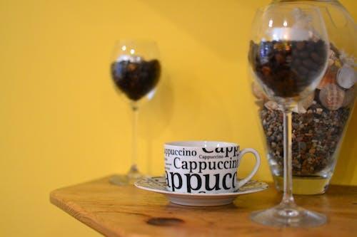 cappuccino, Fincan, içki, kafein içeren Ücretsiz stok fotoğraf
