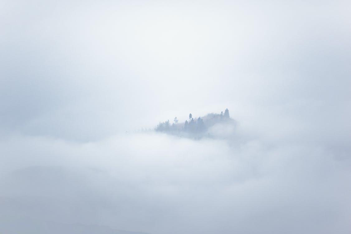 シルエット, 山, 霧