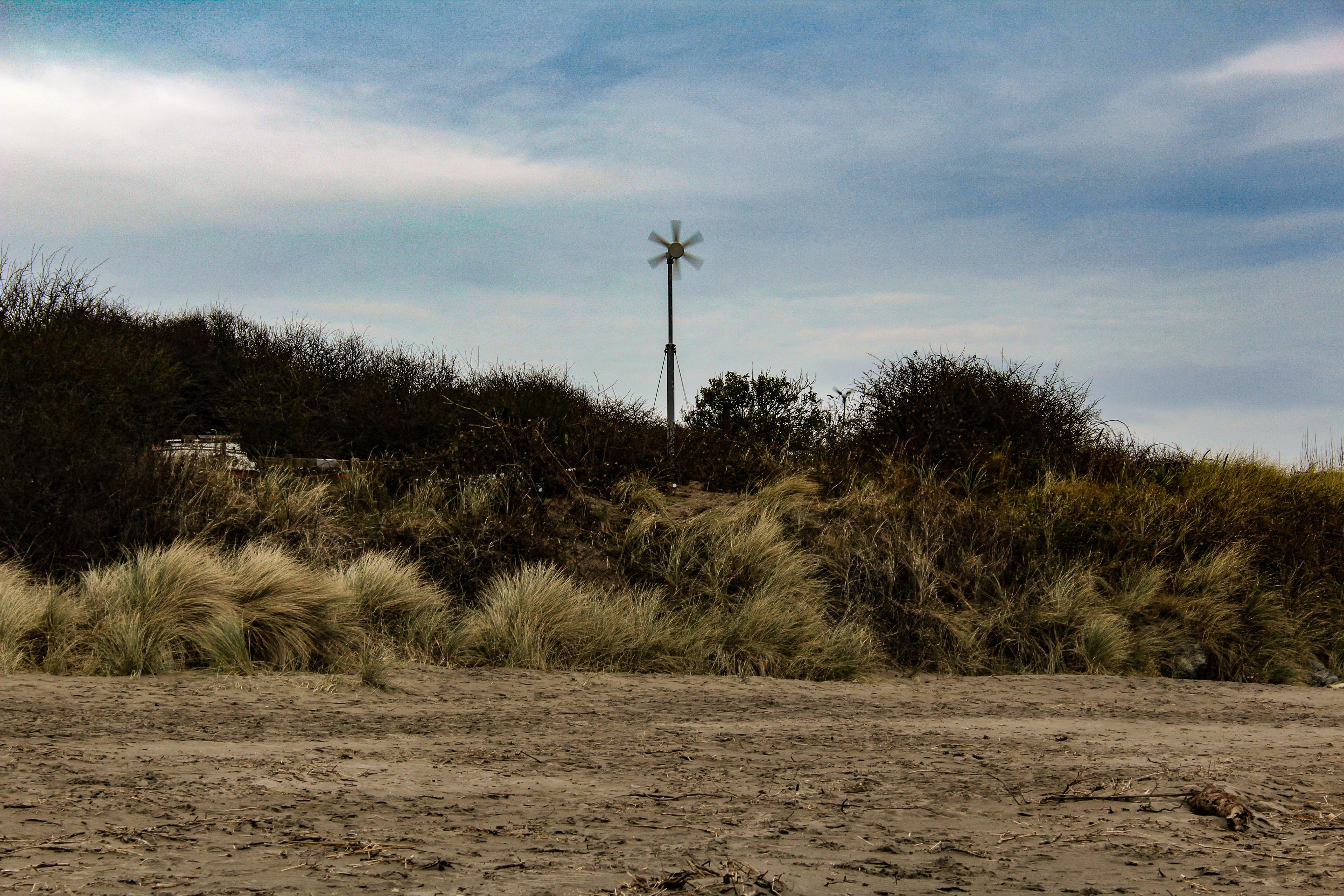 Foto d'estoc gratuïta de aerogenerador, herba, molí de vent, sorra