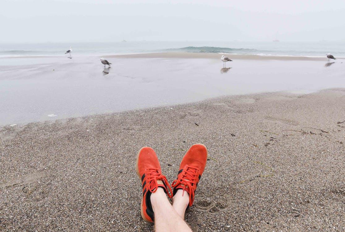 Person Wearing Orange Adidas Running Shoes