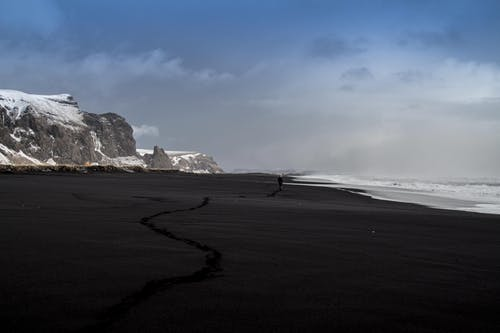 Black Sand Seashore Beside Snow Covered Mountain