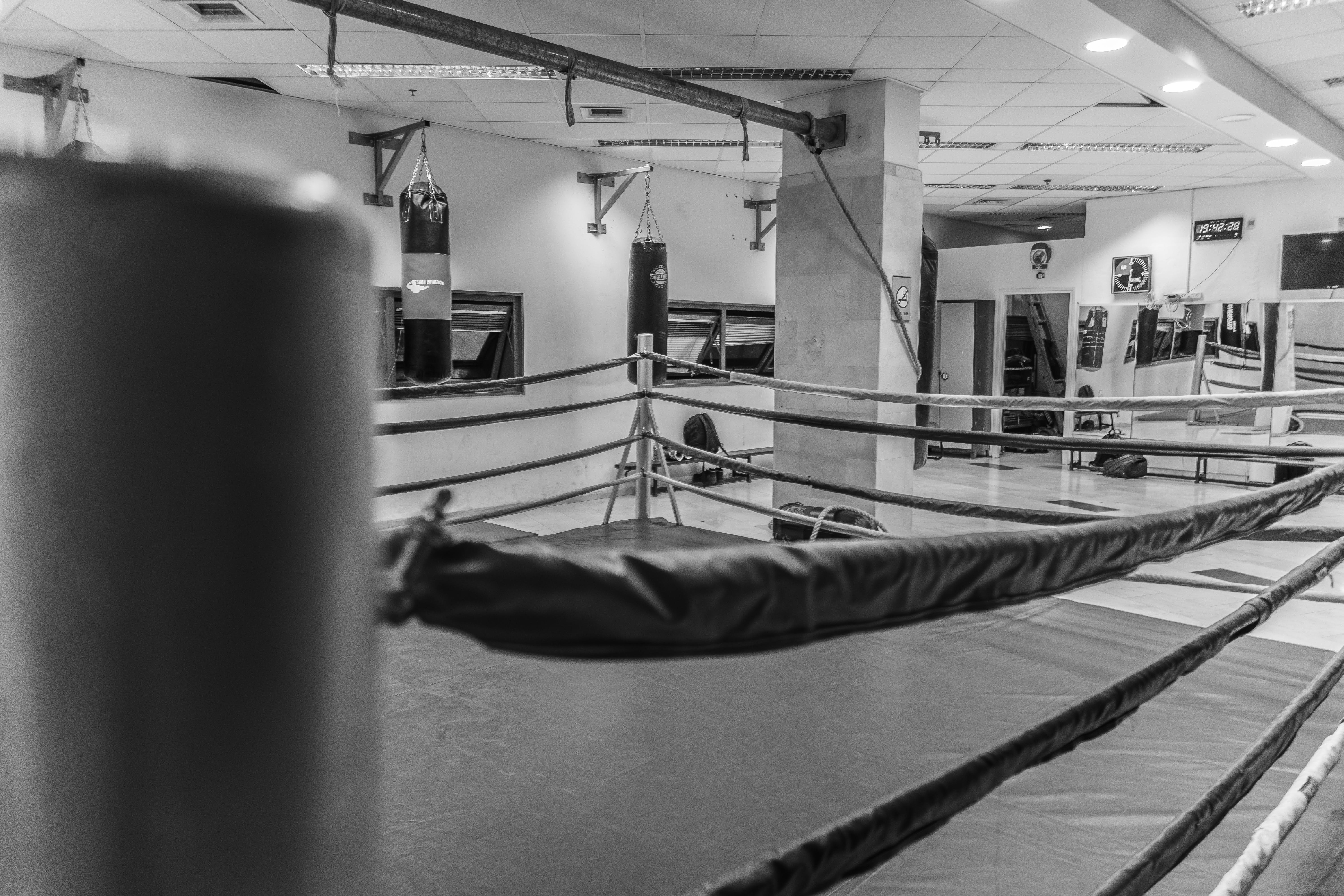 Free stock photo of b&w, boxing, gym, old school