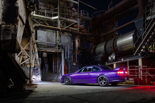 Purple Coupe in a Garage